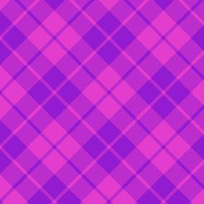 hot pink and purple diagonal tartan