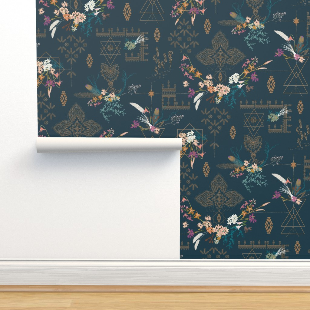 Isobar Durable Wallpaper featuring Sheba Hanging Gardens (teal) LARGE by nouveau_bohemian