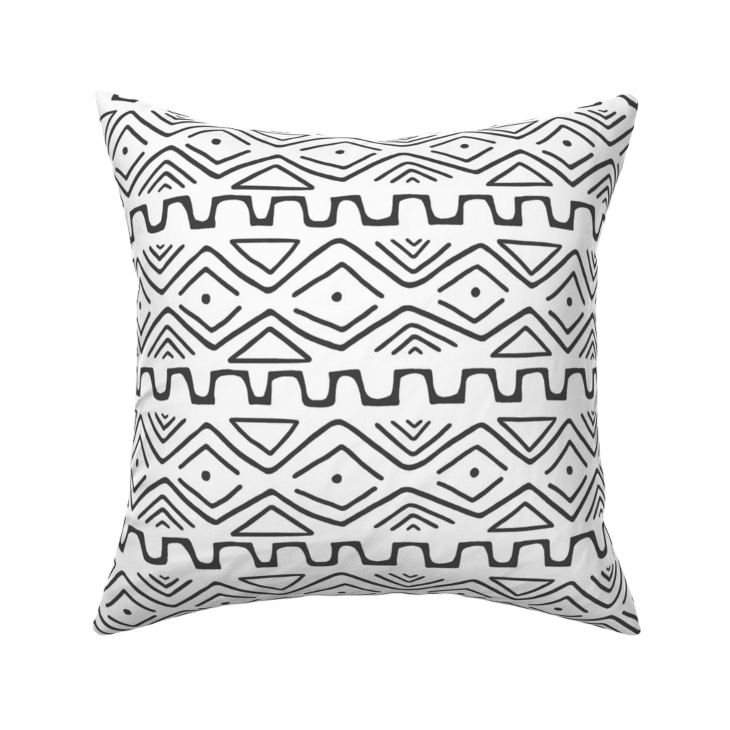 Catalan Throw Pillow featuring Mud Cloth - White by thewellingtonboot