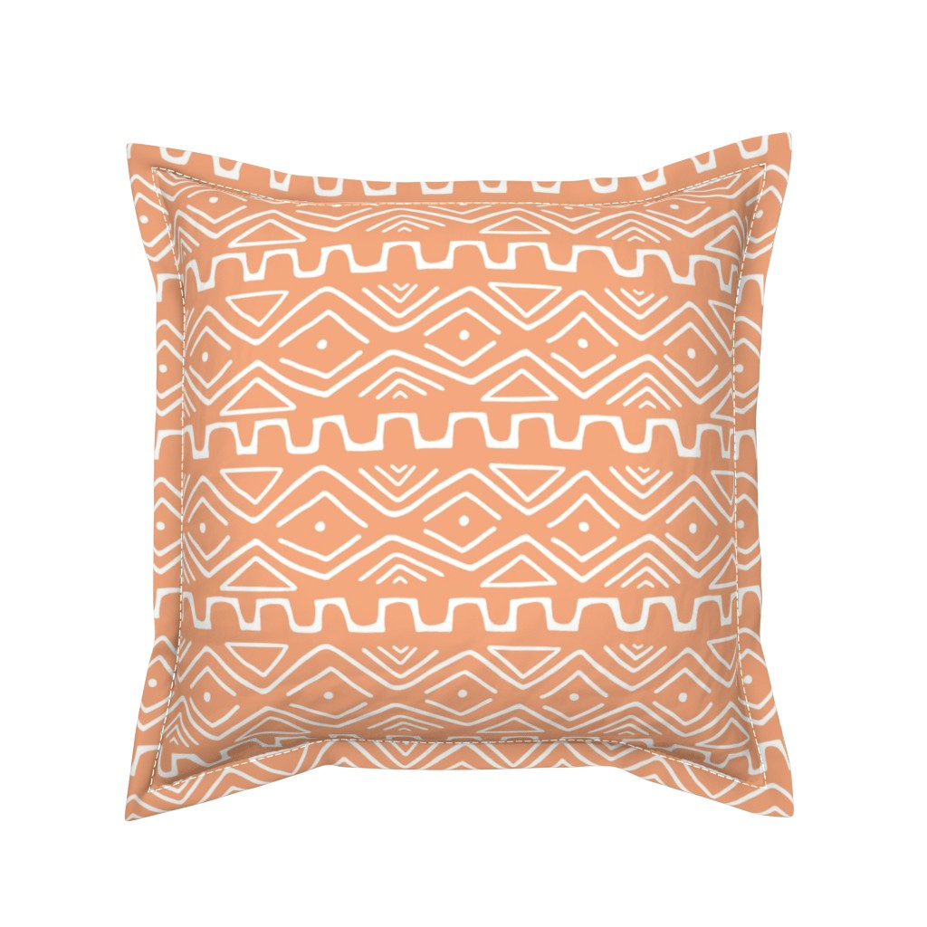 Serama Throw Pillow featuring Mud Cloth - Orange by thewellingtonboot