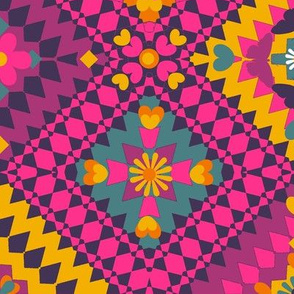 Kilim Boho pink, mustard & teal kilim //   Turkish Boho geometric