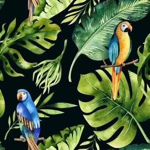 Tropical leaves  and parrots 3