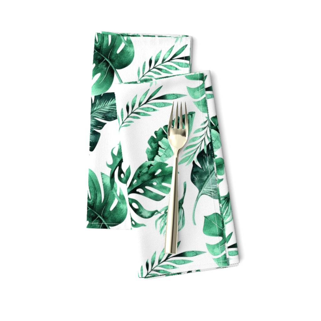 Amarela Dinner Napkins featuring Watercolor tropic jungle seamless summer pattern background with tropical palm monstera leaves by peace_shop