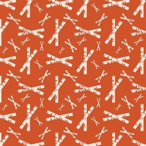 Crisscross White on Orange Upholstery Fabric