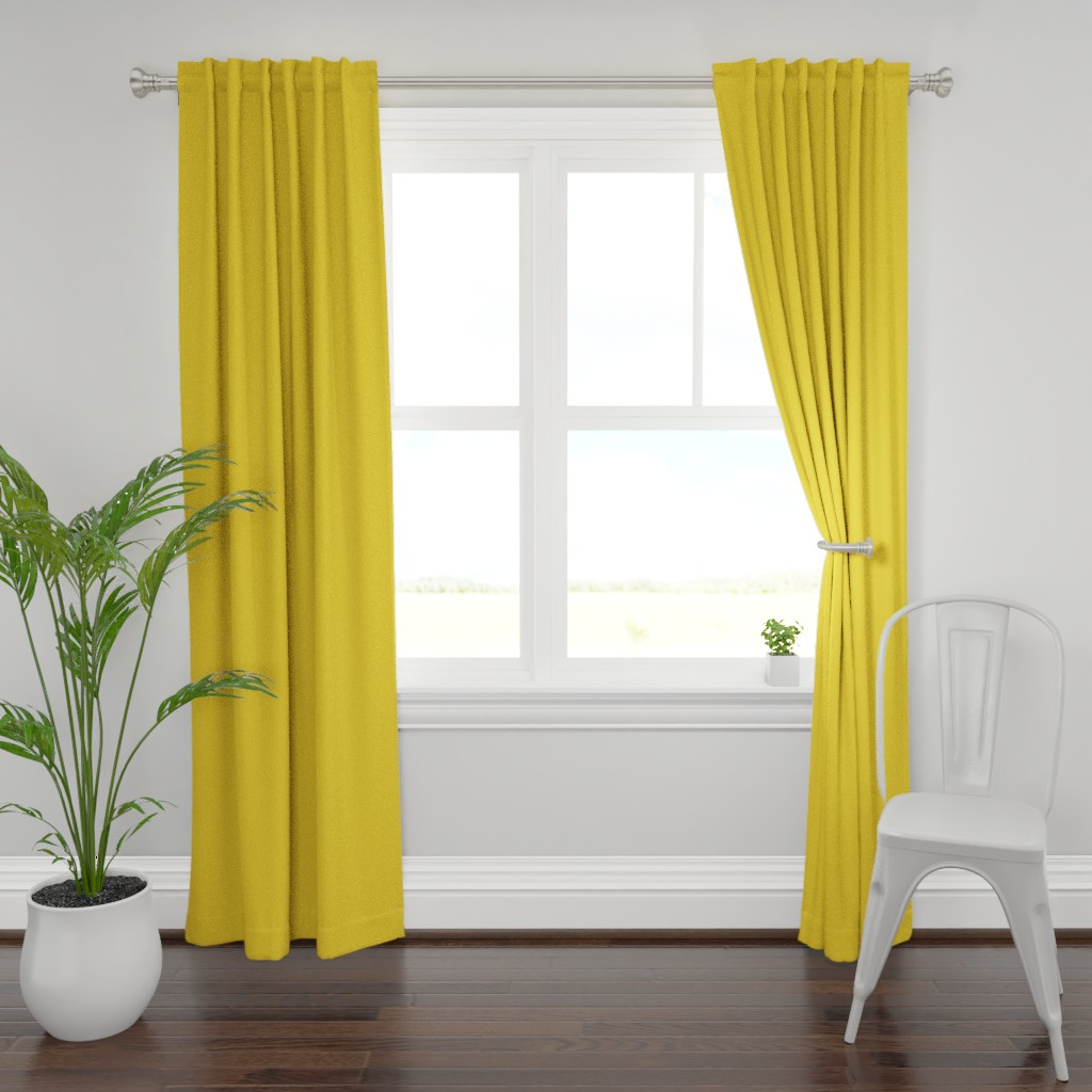 Plymouth Curtain Panel featuring solid sunglow gold (FFCC36) by weavingmajor