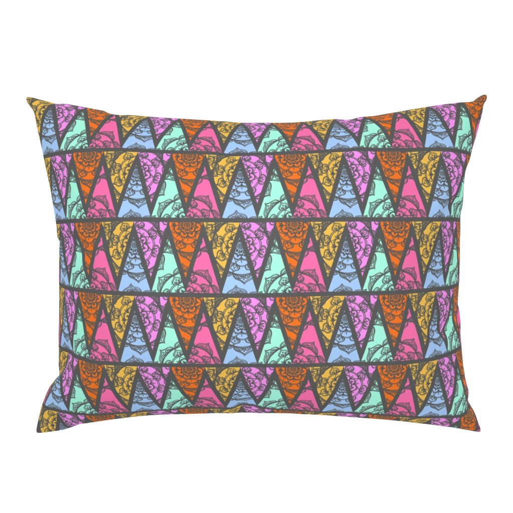 Campine Pillow Sham featuring Lace Triangles in Grey by thewellingtonboot