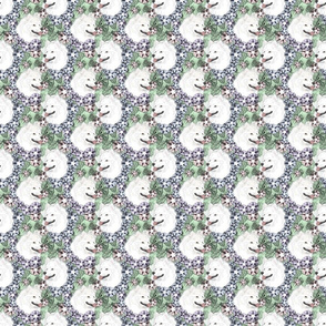 Small Floral American Eskimo Dog portraits
