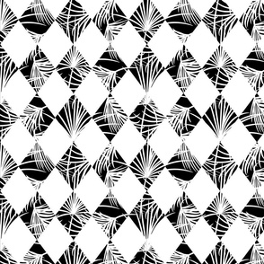 Harlequin rhombus and palm leaves