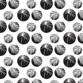 Silhouette circles and palm leaves