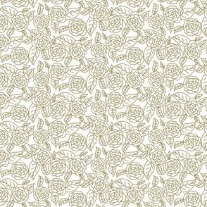 Floral roses wedding dense line pattern