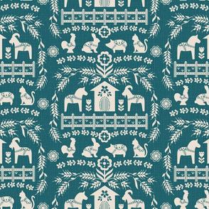 Dala Farm in Teal // swedish folk art dala horse cat rooster pig goat bunny farm teal green fabric