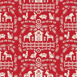 Dala Farm in Red // swedish folk art dala horse cat rooster pig goat bunny farm red fabric