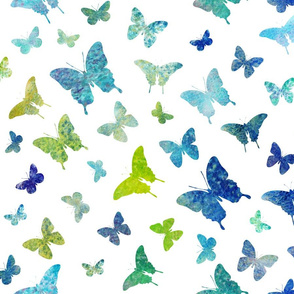 Whimsical butterflies in blue green
