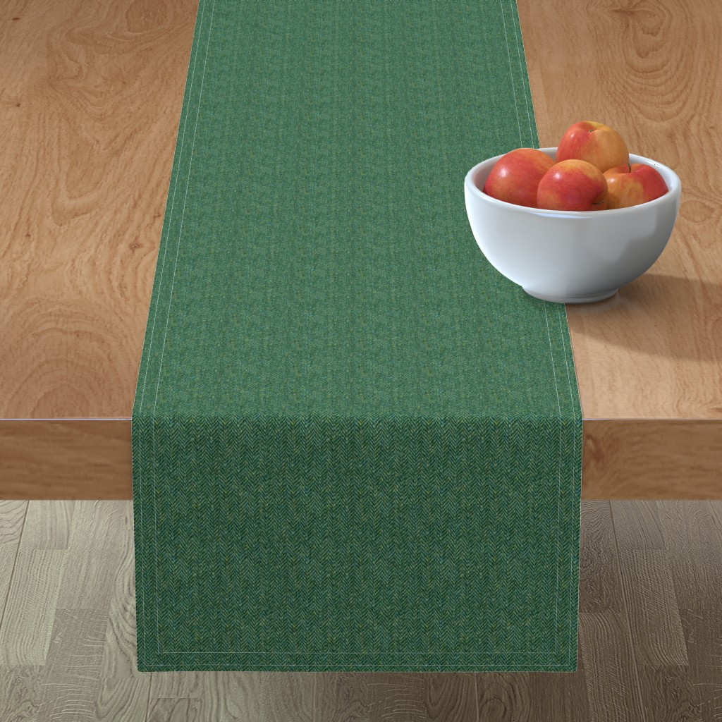 Minorca Table Runner featuring tweedy forest green herringbone by weavingmajor