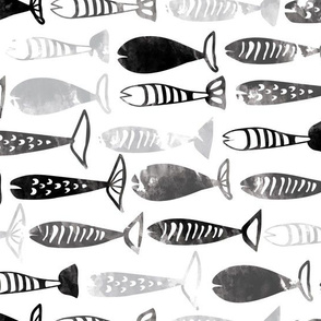 fish black and white watercolor