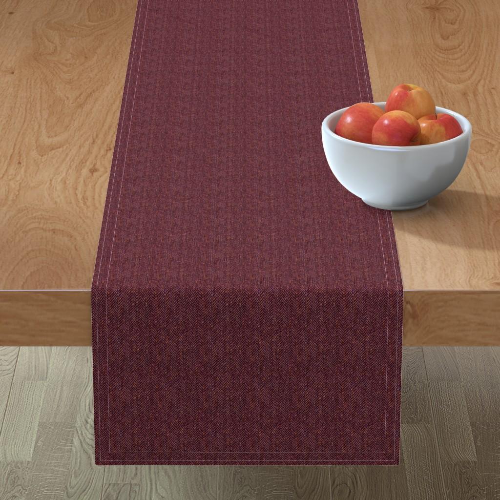 Minorca Table Runner featuring faux tweedy garnet red herringbone by weavingmajor