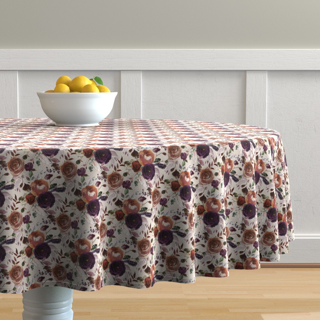Malay Round Tablecloth featuring Plum Fall Florals on Cream by hipkiddesigns