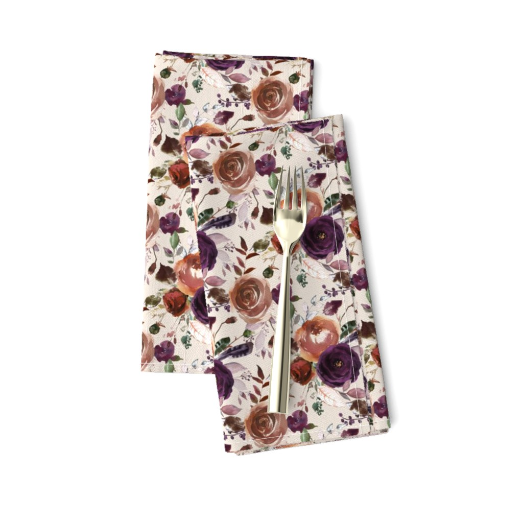 Amarela Dinner Napkins featuring Plum Fall Florals on Cream by hipkiddesigns