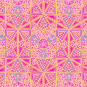 Hexagon Mandala Pattern Pink