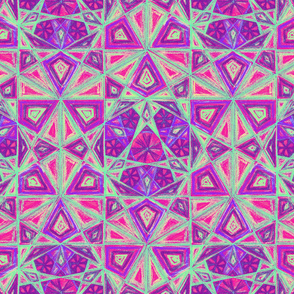 Hexagon Mandala Red Purple Pattern Fabric