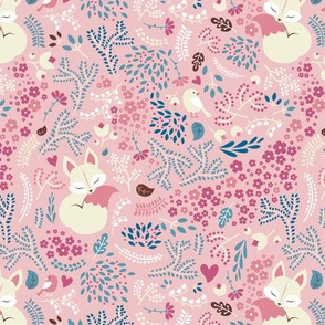 Sleeping Fox - vintage pink