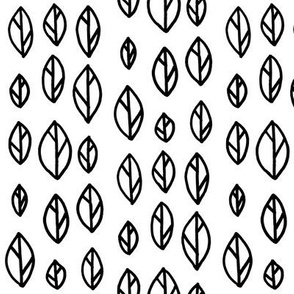 Graphic Leaf Pattern Black and White
