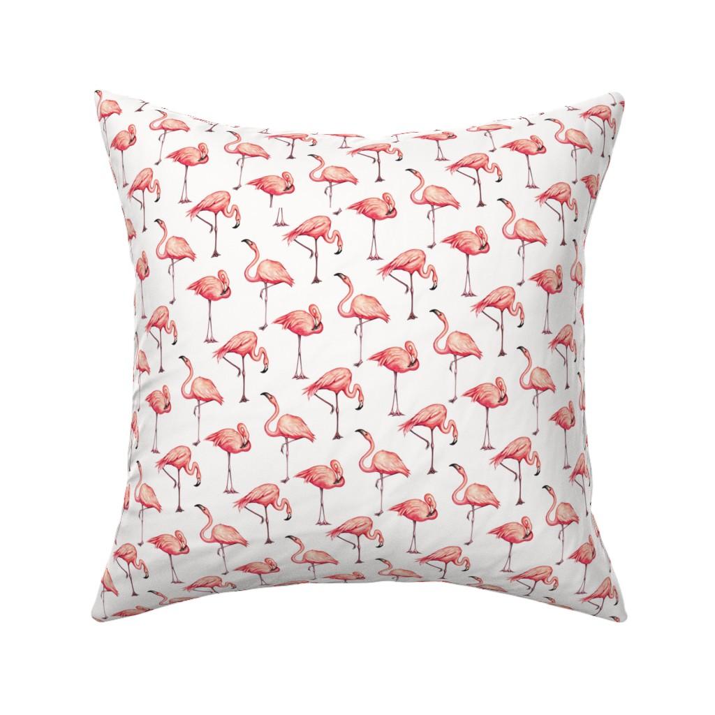Catalan Throw Pillow featuring Flamingo - White by kellygilleran