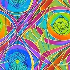 Sacred Geometry Pattern Fabric Pink