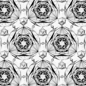 Sacred Geometry Pattern Black White