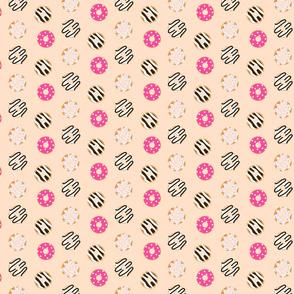 Donut pink glazed seamless chocolate pattern.