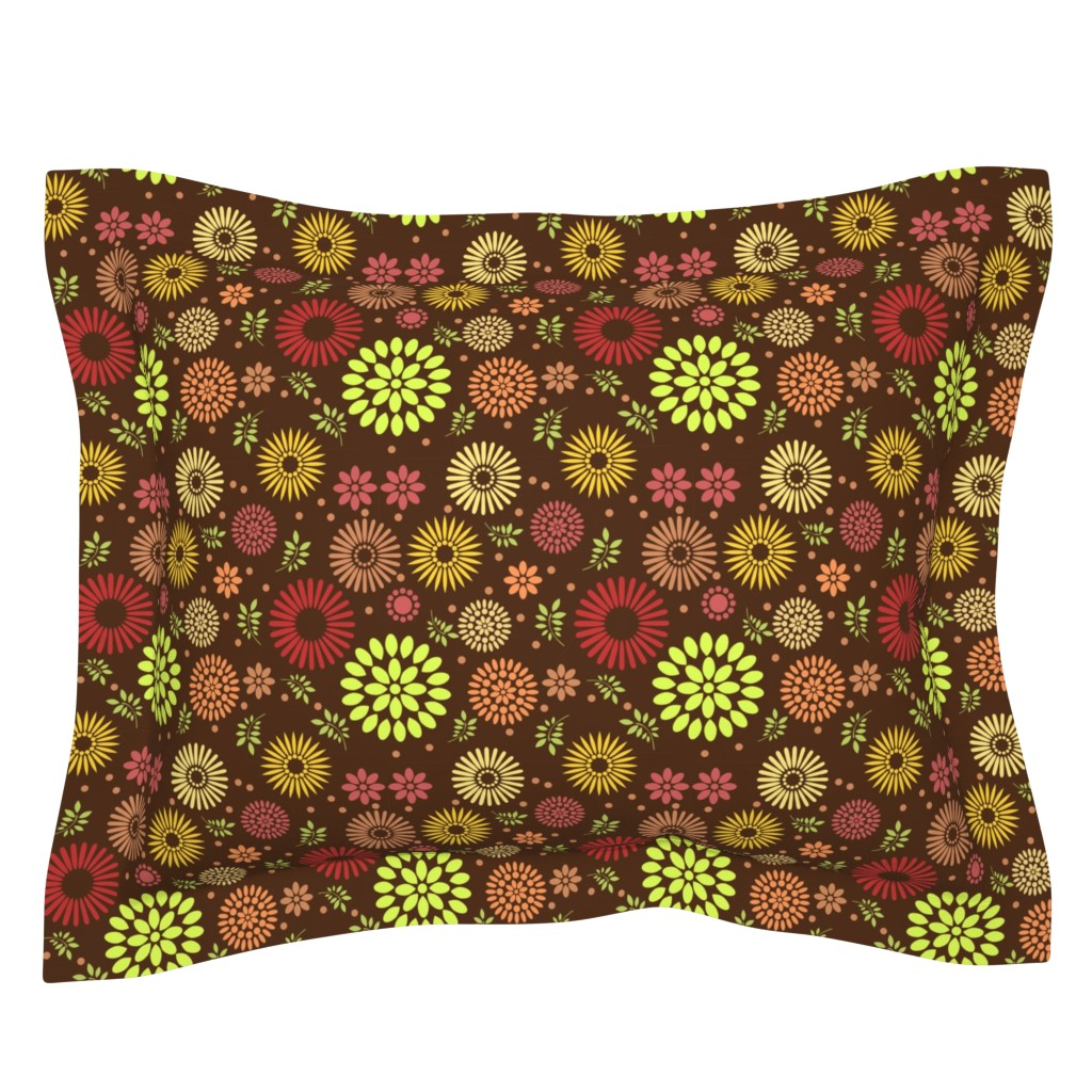 Sebright Pillow Sham featuring Retro Botanical // Brown by thinlinetextiles