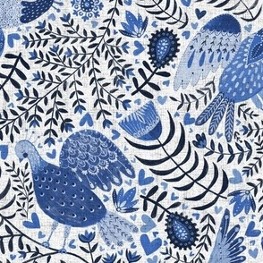 Scandinavian birds, indigo blue