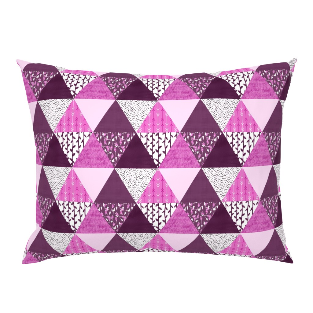 Campine Pillow Sham featuring Triangle Quilt in Purple by thewellingtonboot