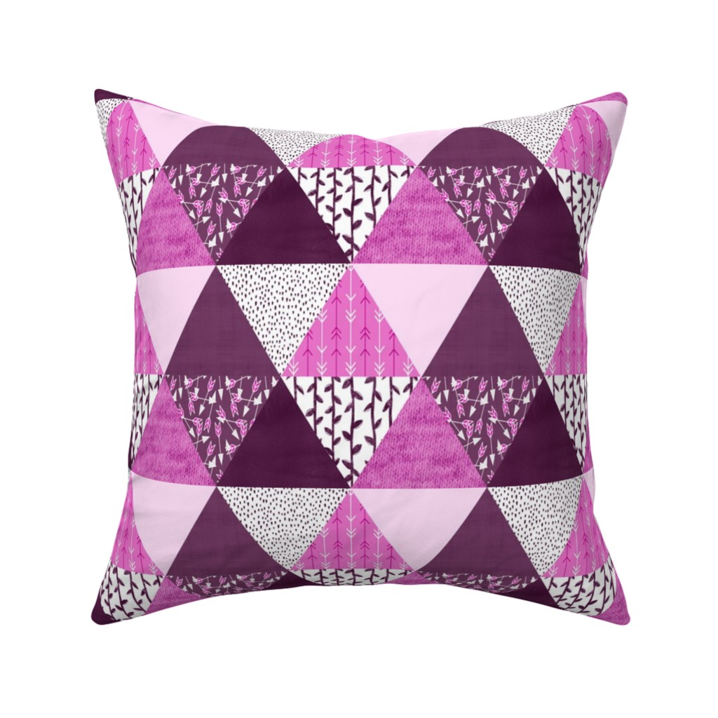 Catalan Throw Pillow featuring Triangle Quilt in Purple by thewellingtonboot