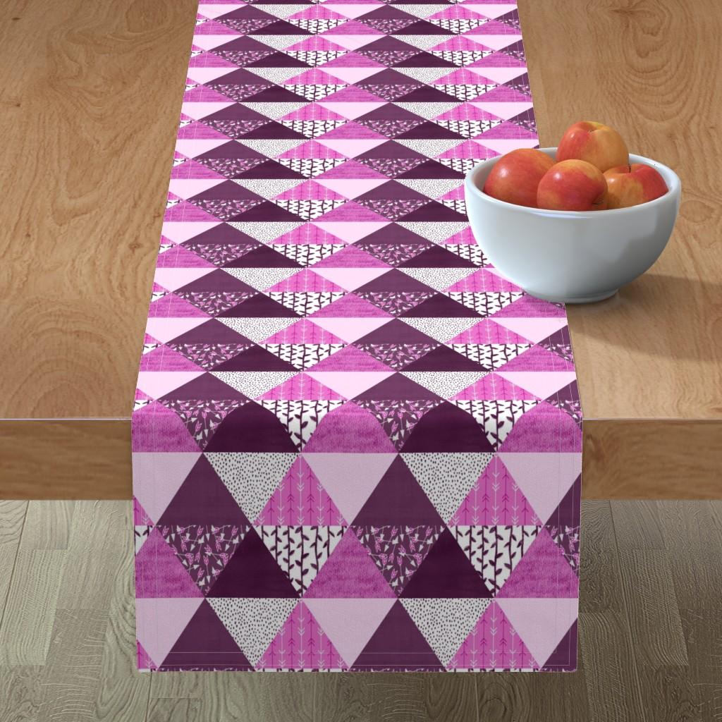 Minorca Table Runner featuring Triangle Quilt in Purple by thewellingtonboot