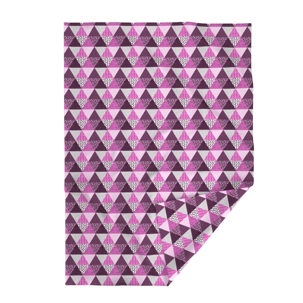 Lakenvelder Throw Blanket featuring Triangle Quilt in Purple by thewellingtonboot