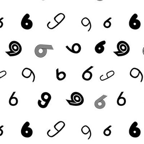 6 non directional numbers minimal black and white typography fonts