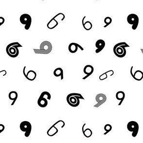 9 non directional numbers minimal black and white typography fonts