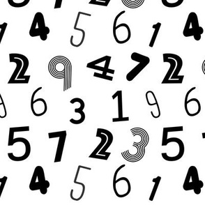 123 numbers minimal black and white typography fonts