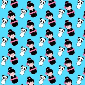 Chinoiserie Kokeshi and Panda