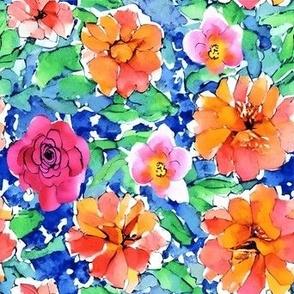Mosaic Hand Drawing Pattern Fabric Purple