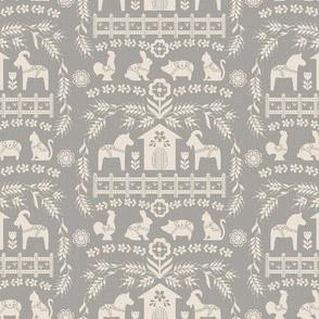 Dala Farm in Grey // swedish folk art dala horse cat rooster pig goat bunny farm warm grey fabric