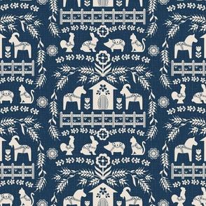 Dala Farm in Navy // swedish folk art dala horse cat rooster pig goat bunny farm navy blue fabric