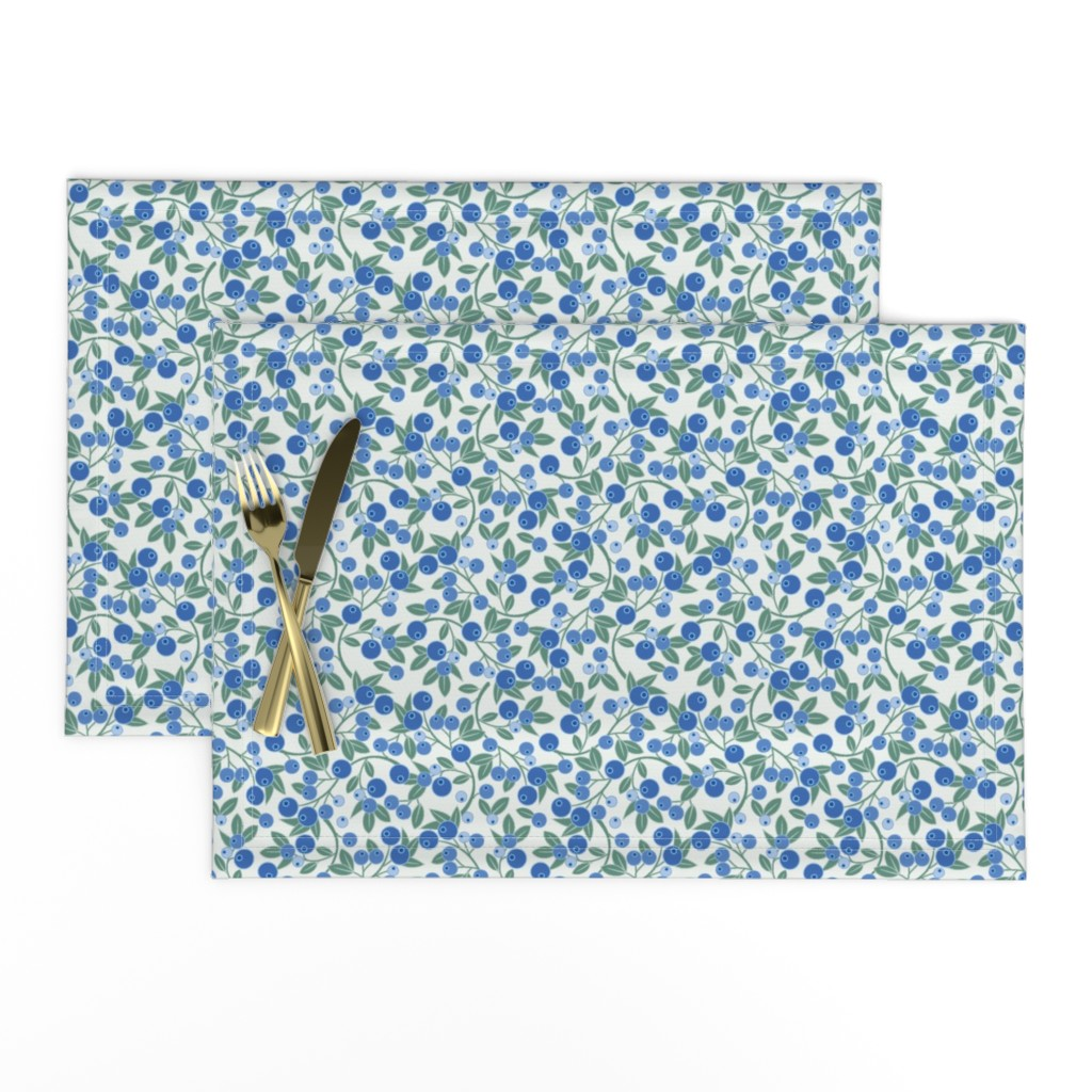 Lamona Cloth Placemats featuring Blueberry Sprig by cindylindgren