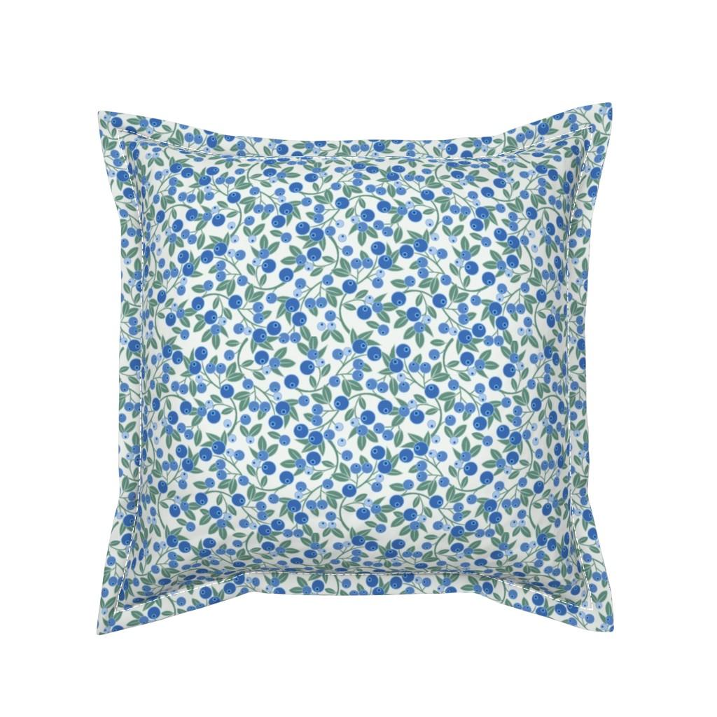 Serama Throw Pillow featuring Blueberry Sprig by cindylindgren