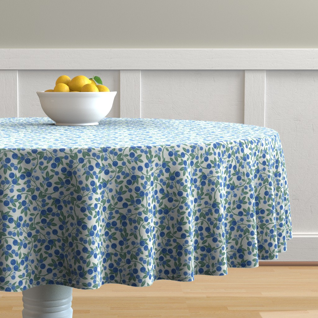 Malay Round Tablecloth featuring Blueberry Sprig by cindylindgren