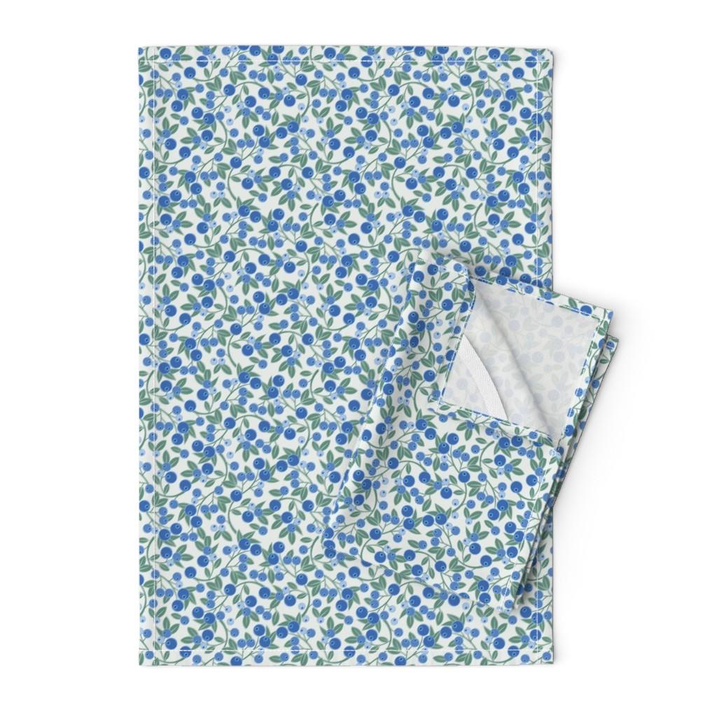 Orpington Tea Towels featuring Blueberry Sprig by cindylindgren