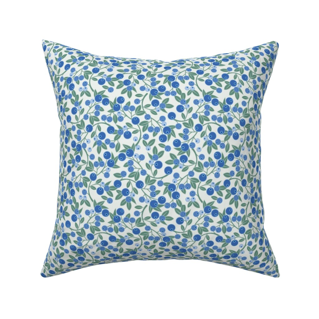 Catalan Throw Pillow featuring Blueberry Sprig by cindylindgren