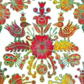 Scandinavian birds and flowers in red and gold