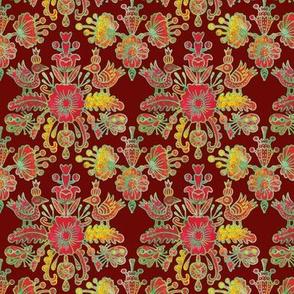Scandinavian birds and flowers in red